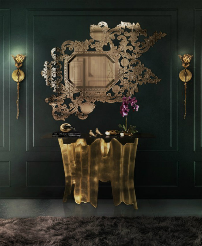 Oscar Golden Style Decoration at Home Oscar Golden Style Decoration at Home Oscar Golden Style Decoration at Home modern home decor addicta mirror obssedia console flora sconce koket projects