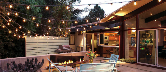 Glamorous-modern-home-decor-modern-midcentury-lighting-wall-lighting MODERN MIDCENTURY LIGHTING MODERN MIDCENTURY LIGHTING Glamorous Holophane Lighting trend Santa Barbara Midcentury Patio Remodeling ideas with backyard cactus container plants exterior lighting metal patio furniture midcentury modern modern fire pit
