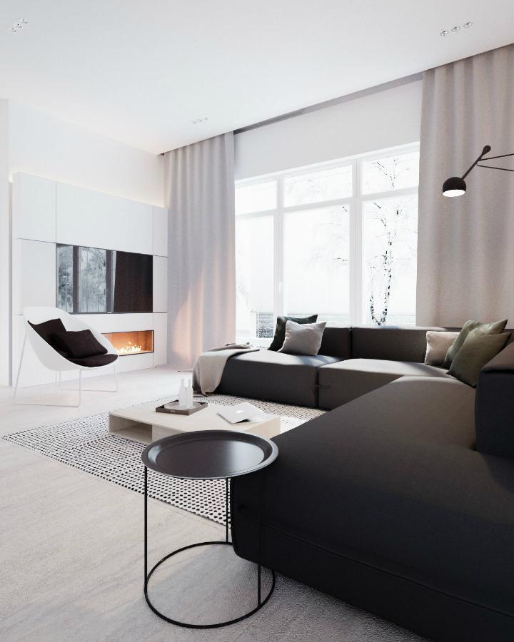 Modern home in Ukraine with minimalist B&W designs