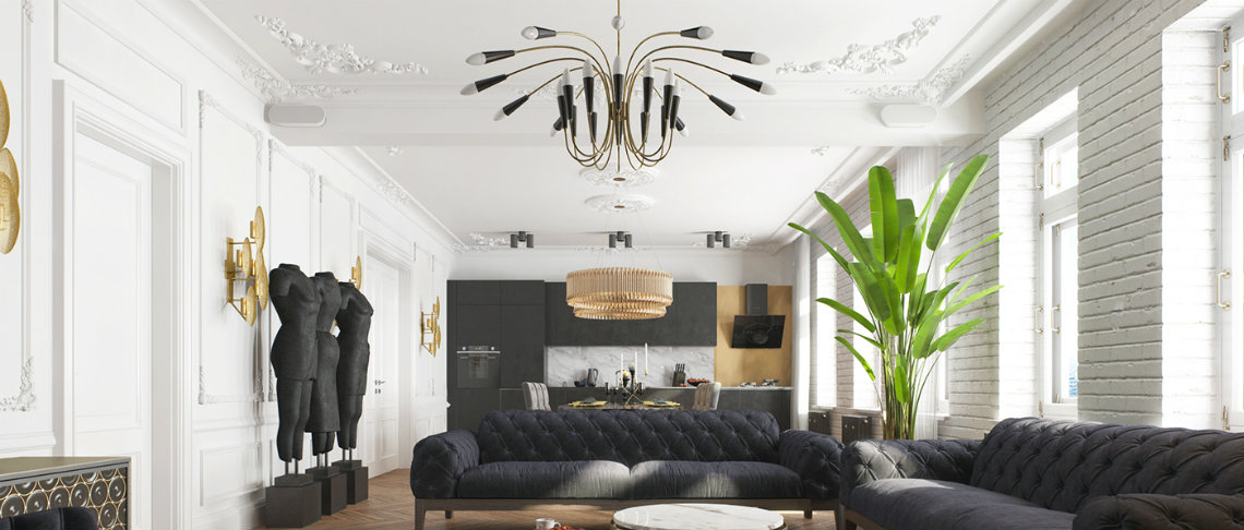 A modern apartment in Kiev with a stunning black decor