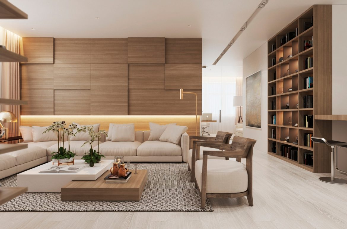 Modern-Apartment in Moscow with Wood as the Central Element