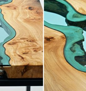 STUNNING WOODEN COFFEE TABLE WITH GLASS RIVERS AND LAKES