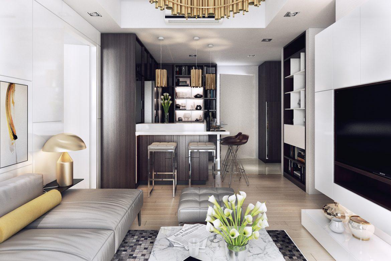 Dark modern apartment with stunning lighting