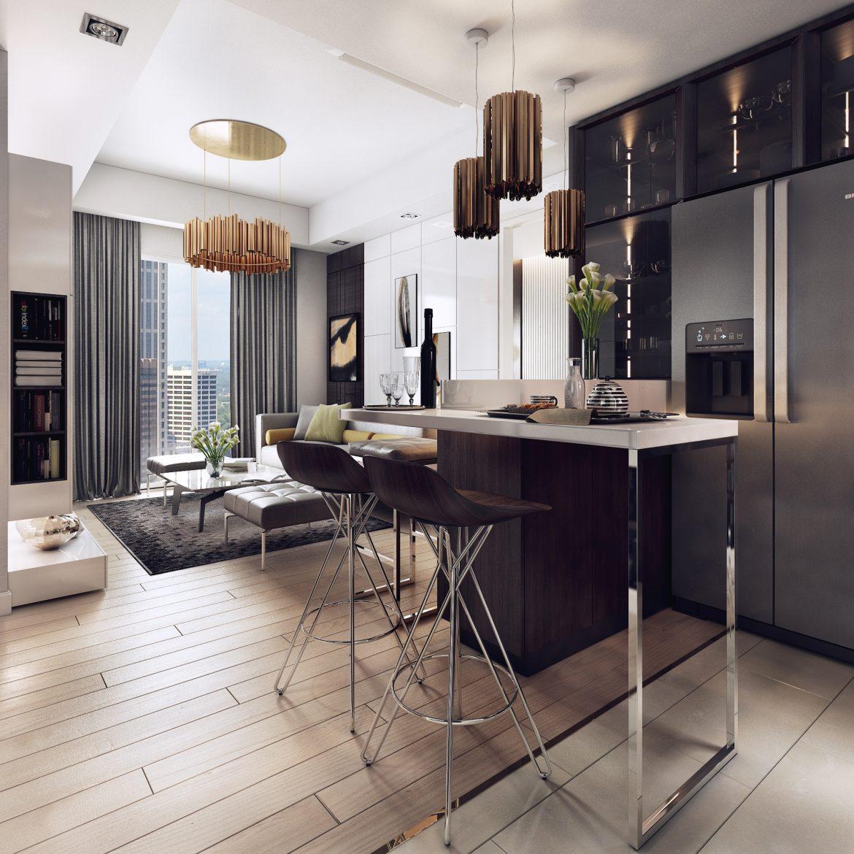 Luxurious Apartment with Dark Interiors and Stunning Lighting