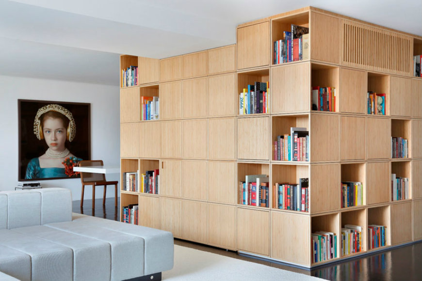A Central Bookcase Hides The Entrance In This Modern Apartment Modern Home Decor