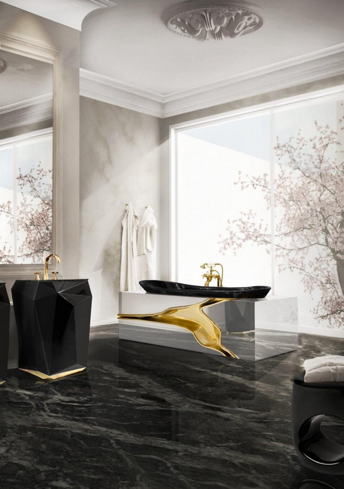 Top 5 Modern Bathtubs by Maison Valentina modern bathtubs Top 5 Modern Bathtubs by Maison Valentina MAISON VALENTINA The Lapiaz bathtub enhances its gold and